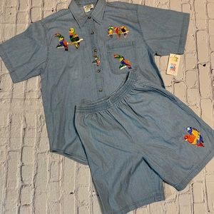 Chambray Parrot Embroidered Jean Shirt Shorts Set